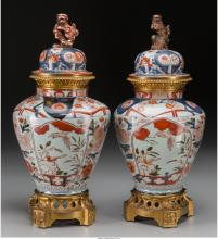 A Pair of Imari Porcelain Covered Urns with Gilt Bronze Mounts attributed to Sam