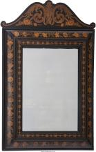 A Flemish Marquetry and Ebonized Wood Mirror, 20th century 51-1/4 inches high x