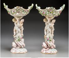 A Pair of Meissen Painted Porcelain Figural Centerpieces, Meissen, Germany, late
