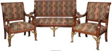 A Three-Piece Empire Style Gilt Bronze  Mounted Upholstered Mahogany Parlor Suit