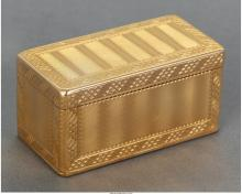 A French 14K Gold Snuff Box, 20th century Marks: (spurious marks) 1-1/2 x 3 x 1-