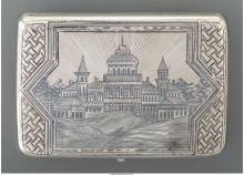 A Russian Silver and Niello Snuff Box, late 19th-early 20th century Marks: (AC/1