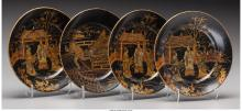 Four Japanese Painted and Lacquered Wooden Plates, Meiji Period 6-1/2 inches dia