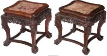 A Pair of Japanese Carved Hardwood Stands with Inset Marble Tops, late 19th cent