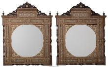 A Pair of Moorish Wood, Bone, and Mother-of-Pearl Inlaid Mirrors, 21st century 4