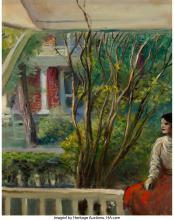 Guy Pène Du Bois (American, 1884-1958) Girl on the Porch, 1957 Oil on canvas 20