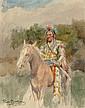 ROSA BONHEUR (French, 1822-1899) Indian on Horseback, c