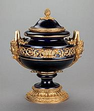 A COBALT BLUE PORCELAIN AND GILT BRONZE MOUNTED COVERED