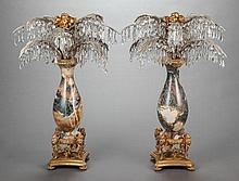 A PAIR OF ONYX, CUT GLASS, GILT AND SILVERED BRONZE MOU