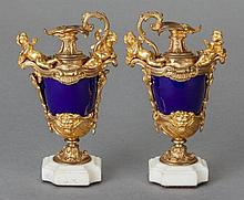 A PAIR OF NAPOLEON III-STYLE COBALT BLUE PORCELAIN AND