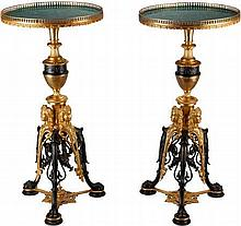 A PAIR OF GILT AND PATINATED BRONZE TABLES WITH MALACHI