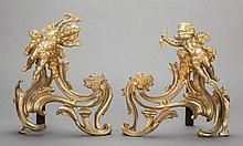 A PAIR OF LOUIS XV-STYLE GILT BRONZE FIGURAL CHENETS, f