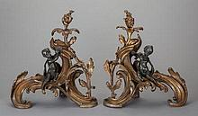 A PAIR OF LOUIS XV-STYLE GILT AND PATINATED BRONZE FIGU