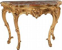 A LOUIS XV-STYLE CARVED GILT WOOD CONSOLE TABLE WITH MA