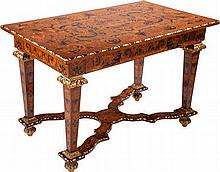 A RÉGENCE-STYLE MAHOGANY AND MIXED WOOD MARQUETRY CENTE