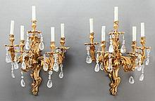 A PAIR OF LOUIS XV-STYLE GILT BRONZE AND ROCK CRYSTAL F