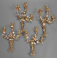 FOUR LOUIS XV-STYLE GILT BRONZE AND PORCELAIN TWO-LIGHT