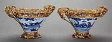 A PAIR OF CHINESE CANTON PORCELAIN AND GILT BRONZE CENT