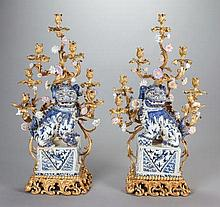 A PAIR OF CHINESE PORCELAIN AND GILT BRONZE SEVEN-LIGHT