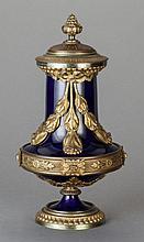 A LOUIS XVI-STYLE COBALT BLUE PORCELAIN AND GILT BRONZE