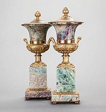 A PAIR OF LOUIS XVI-STYLE FRENCH GILT BRONZE AND FLUORI