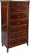 AN EMPIRE-STYLE MAHOGANY, MARBLE AND GILT BRONZE MOUNTE