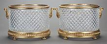 A PAIR OF CUT GLASS AND GILT BRONZE MOUNTED JARDINIÈRES