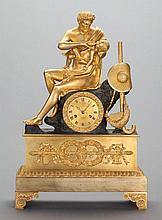 A CONTINENTAL NEOCLASSICAL-STYLE GILT BRONZE FIGURAL MA