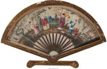 A Chinese Framed and Painted Silk Fan, 19th century 15