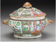 A Chinese Canton Famille Rose Covered Tureen, 19th cent