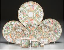 A Nine-Piece Chinese Export Famille Rose Porcelain Grou