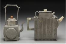 Two Chinese Pewter and Hardstone Teapots, 20th century