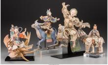 A Group of Four Chinese Polychrome Pottery Taoist Deiti