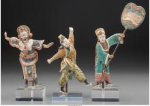 Three Chinese Polychrome Pottery Opera Actor Figures wi