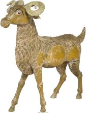 A Chinese Carved Wood and Polychrome Ram 31-1/2 h x 34-