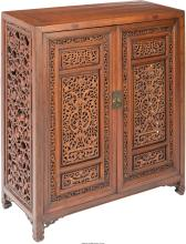 A Chinese Carved Hardwood Cabinet, 20th century 37-1/2