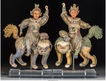 Five Chinese Sung Dynasty-Style Ceramic and Plaster Fig