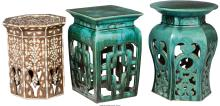 Two Chinese Pottery Garden Seats and a Moorish Inlaid S