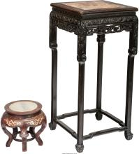 Two Chinese Rosewood and Marble Stands, 20th century 35