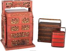Three Chinese Stacking Wedding Boxes 28 h x 18-1/4 w x
