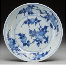 A Chinese Qing Dynasty Blue and White Bowl with Berry M