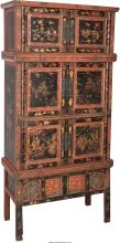 A Tall Chinese Painted and Partial Gilt Wedding Chest,