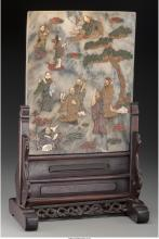 A Chinese Marble Table Screen Inlaid with Hardstone and