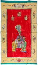 A Chinese Silk and Corduroy Figural Wall Tapestry, 20th