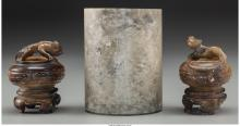 A Chinese Hardstone Brushpot and Two Agate Figural Brus