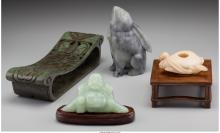 Four Pieces of Chinese Hardstone Carvings: Opium Pillow
