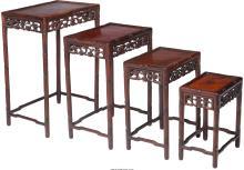 A Set of Four Chinese Mahogany and Burlwood Nesting Tab
