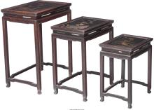 Set of Three Chinese Hardwood and Lacquered Nesting Tab