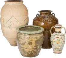 Four Large Asian Ceramic Jars 33-1/2 inches high (85.1 cm) (tallest)  PROPERTY F