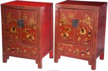 A Pair of Korean Red Lacquered Hardwood Cabinets, 20th century 35-1/2 h x 25 w x